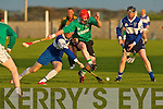 Lady's Walk Thomas Rourke and St Brendan's Chris Wallace challenge hard for the ball in the NK Intermediate Hurling Final at the Kilmoyley Hurling Club grounds on Monday night..   Copyright Kerry's Eye 2008