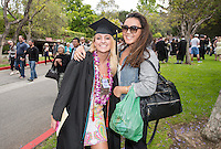 Abby Bailey and Zoe Namba. The class of 2015 graduates during Occidental College's 133rd Commencement, the Remsen Bird Hillside Theater, on Sunday, May 17, 2015.<br />