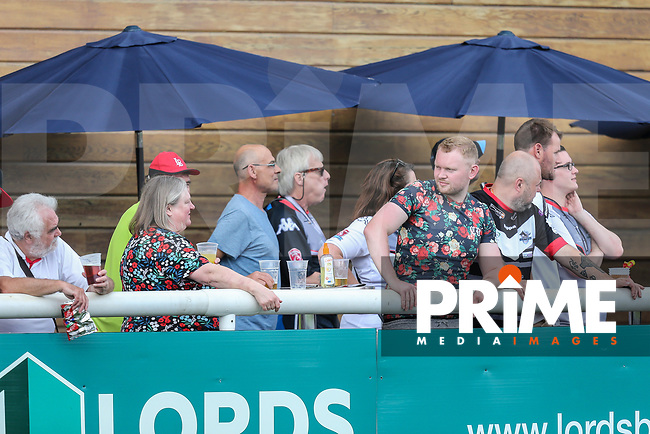 Supporters look on during the Kingstone Press Championship match between London Broncos and Sheffield Eagles at Castle Bar , West Ealing , England  on 9 July 2017. Photo by David Horn.