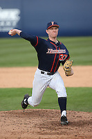 Dillon Brown #37 of the Cal State Fullerton Titans pitches against the Stanford Cardinal at Goodwin Field on February 19, 2017 in Fullerton, California. Stanford defeated Cal State Fullerton, 8-7. (Larry Goren/Four Seam Images)