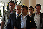 Flanked by security, Israeli Prime Minister Benjamin Netanyahu is seen arriving at a Likud Party Faction meeting in Israel's Parliament (Knesset) in Jerusalem, June 15, 2009. Yesterday Netanyahu gave his much anticipated policy speech at Bar-Ilan University, which angered many on the Palestinian side but received luke-warm acceptance from the United States. Photo By: Tess Scheflan / JINI .