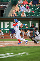Ronny Brito (5) of the Ogden Raptors bats against the Grand Junction Rockies at Lindquist Field on July 25, 2018 in Ogden, Utah. The Rockies defeated the Raptors 4-0. (Stephen Smith/Four Seam Images)