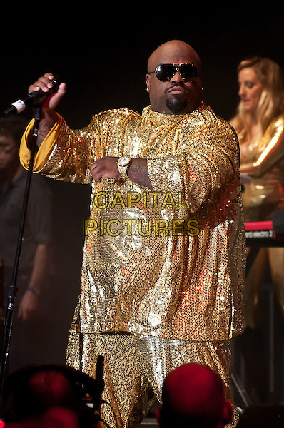 CEE LO GREEN (Thomas DeCarlo Callaway).DIRECTV Old School Challenge Presented By ESPN - Performance, New York, NY, USA..August 25th, 2011.stage concert live gig performing music half length top sunglasses shades necklace gold beads beaded sunglasses shades goatee facial hair  .CAP/ADM/CS.©Christopher Smith/AdMedia/Capital Pictures.