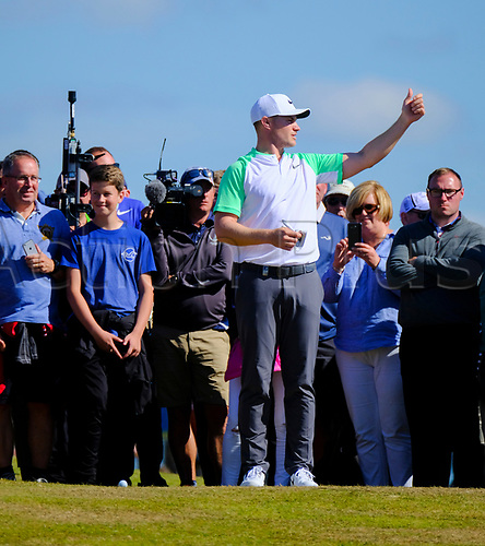 July 8th 2017, Portstewart Golf Club, Portstewart, Northern Ireland; Dubai Duty Free Irish Open Golf Championship, Day 3; Oliver Fisher (ENG) gestures on the 18th fairway during the third round of the Dubai Duty Free Irish Open