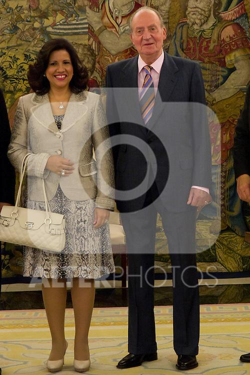 03.07.2012. King Juan Carlos I of Spain attends the Dominican Republic's President Leonel Fernandez and his wife Margarita Cedeño in the Zarzuela Palace. In the image Juan Carlos I de Borbon and Margarita Cedeño  (Alterphotos/Marta Gonzalez)