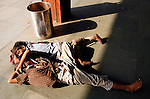 Photo by Heathcliff Omalley..Mughal Serai, Uttar Pradesh, India..Homeless children asleep on the platform at Mughal Serain Train Station near the holy city of Varanasi, where many of the express trains from Dehli to Calcutta stop.