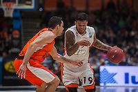 VALENCIA, SPAIN - December 2: Chris Babb, Rafa Martinez during EUROCUP match between Valencia Basket Club and Ratiopharm ULM at Fonteta Stadium on December 2, 2015