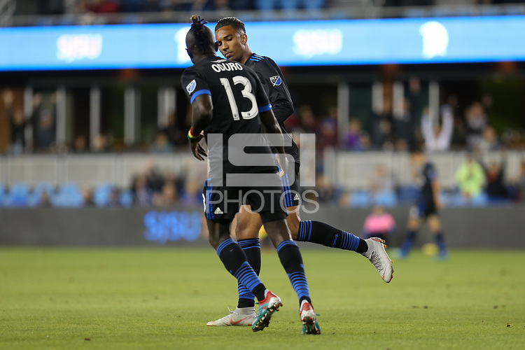 San Jose, CA - Saturday September 15, 2018: Danny Hoesen during a Major League Soccer (MLS) match between the San Jose Earthquakes and Sporting Kansas City at Avaya Stadium.