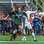 3 October 2015: Binghamton University Bearcat Midfielder Kevin Flesch, a Freshman from Munich, Germany, battles University of Vermont Catamount Forward Brian Wright, a Junior from Ajax, Ontario, during game action at Virtue Field in Burlington, Vermont. The Bearcats held on to defeat the Catamounts 2-1 in America East conference play. Mandatory Credit: Ed Wolfstein Photo *** RAW (NEF) Image File Available ***
