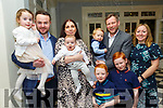 Double Christening: Baby Brody with his parents Michael & Fiona Ahern and sister Brooke, Lyrecrompane & baby Alex with his parents Sharon & Ross Fitzer and brothers Kiann & Dylan, Lyrecrompane & Birmingham  who were christened in Duagh Church by FR Jack O'Donnell on Saturday last and afterwards at the Listowel Arms Hotel.