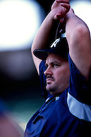 David Wells of the New York Yankees plays in a baseball game at Edison International Field during the 1998 season in Anaheim, California. (Larry Goren/Four Seam Images)