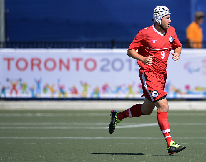 Toronto, ON - Aug 9 2015 -  Trevor Stiles during Canada vs United States in Football 7-a-side at the Parapan Am Fields during the Toronto 2015 Parapan American Games  (Photo: Matthew Murnaghan/Canadian Paralympic Committee)