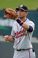 Shortstop Jose Peraza (4) of the Rome Braves before a game against the Greenville Drive on Tuesday, August 20, 2013, at Fluor Field at the West End in Greenville, South Carolina. Rome won, 4-2. Peraza is the Atlanta Braves' No. 10 prospect, according to Baseball America. (Tom Priddy/Four Seam Images)