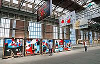 Nederland Amsterdam  2017. De NDSM-Werf. In de gebouwen van de voormalige scheepswerf zijn ateliers gevestigd. Expositie. Grote letters vormen het woord Noord.  Foto Berlinda van Dam / Hollandse Hoogte
