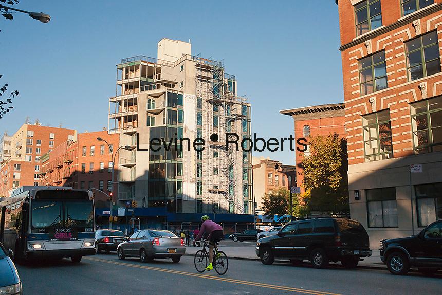 Residential construction on St. Nicholas Avenue in the Harlem neighborhood of New York is seen on Thursday, October 11, 2012. (© Richard B. Levine)