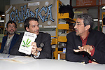 "Physicians Humberto Brocca (L), Ricardo Sala and Luis Astorga of UNAM (R) introduce the book ""The Century of the Drugs"" by Astorga during the opening of the Cannabis Library in Mexico City, February 28, 2006. The physicians discussed about the use of drugs in contemporary societies and its relationship with violence...Photo by Javier Rodriguez"
