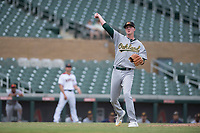 Mesa Solar Sox relief pitcher Nolan Blackwood (48), of the Oakland Athletics organization, makes a throw to first base during an Arizona Fall League game against the Salt River Rafters on October 30, 2017 at Salt River Fields at Talking Stick in Scottsdale, Arizona. The Solar Sox defeated the Rafters 8-4. (Zachary Lucy/Four Seam Images)