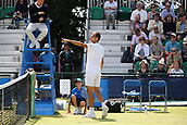 June 16th 2017, Nottingham, England; ATP Aegon Nottingham Open Tennis Tournament day 5;  Marius Copil of Roumania querying a call with the umpire