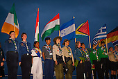 Scouts standing with their flag on the catwalk for the opening ceremony
