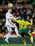 John Fleck of Sheffield United heads the ball during the Premier League match at Carrow Road, Norwich. Picture date: 8th December 2019. Picture credit should read: James Wilson/Sportimage