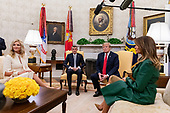 United States President Donald J. Trump and First Lady Melania Trump meet with the Prime Minister of the Czech Republic Andrej Babiö and his wife Monika Babiöov· in the Oval Office at the White House in Washington, D.C. on March 7, 2019. <br /> Credit: Alex Edelman / Pool via CNP