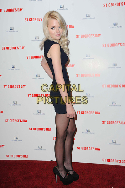Hetti Bywater.The 'St George's Day' world film premiere, Odeon Covent Garden cinema, Shaftesbury Avenue, London, England..August 29th, 2012.full length black  dress blue sleeveless side skinny thin.CAP/CAS.©Bob Cass/Capital Pictures.