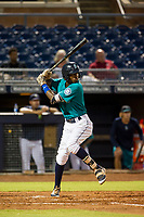 AZL Mariners shortstop Osmy Gregorio (3) at bat against the AZL Royals on July 29, 2017 at Peoria Stadium in Peoria, Arizona. AZL Royals defeated the AZL Mariners 11-4. (Zachary Lucy/Four Seam Images)
