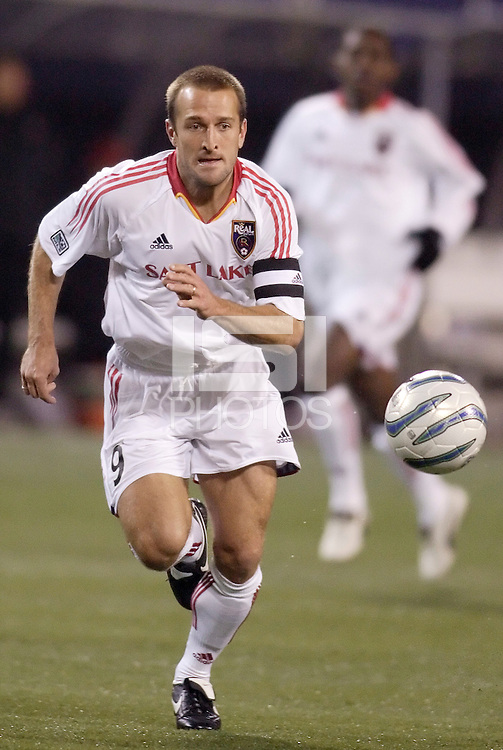 Real Salt Lake's Jason Kreis. The weather was the story with 50 mph winds, rain, and a brief power outage as the MetroStars played Real Salt Lake to a scoreless tie during opening day action of season 10 of the MLS at Giant's Stadium, East Rutherford, on Saturday April 2, 2005.