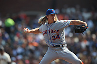 SAN FRANCISCO, CA - SEPTEMBER 2:  Noah Syndergaard #34 of the New York Mets pitches against the San Francisco Giants during the game at AT&T Park on Sunday, September 2, 2018 in San Francisco, California. (Photo by Brad Mangin)