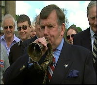 BNPS.co.uk (01202) 558833<br /> Picture: AntiquesRoadshow/BNPS<br /> <br /> Capt Nick Holtby attempting a blast on the historic bugle.<br /> <br /> The bugle that sounded the catastrophic orders for the Charge of the Light Brigade has emerged on TV's Antiques Roadshow.<br /> <br /> The battered instrument was carried into the suicidal battle of the Crimea War in 1864 by William Britain, the Lord Cardigan's duty trumpeter.<br /> <br /> He took orders directly from the Earl, who led the cavalry, and blew on his bugle several times to signal the men to walk, canter and then charge at the Russian guns.