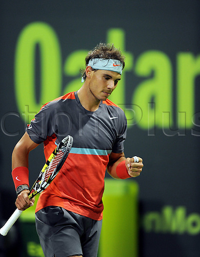 03.01.2014. Doha, Qatar.  Rafael Nadal of Spain celebrates during the men s singles semifinal match against Peter Gojowczyk of Germany in Qatar Open tennis tournament, Jan. 3, 2014. Nadal won 2-1.