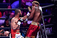 """Fairfax, VA - May 11, 2019: Julian J-Rock"""" Williams pins Jarrett """"Swift"""" Hurd in the corner during Jr. Middleweight title fight against  at Eagle Bank Arena in Fairfax, VA. Julian Williams defeated Hurd to take home the IBF, WBA and IBO Championship belts by unanimous decision. (Photo by Phil Peters/Media Images International)"""