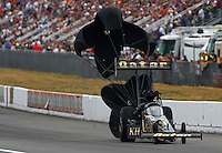 Aug. 3, 2013; Kent, WA, USA: NHRA top fuel dragster driver Khalid Albalooshi during qualifying for the Northwest Nationals at Pacific Raceways. Mandatory Credit: Mark J. Rebilas-USA TODAY Sports
