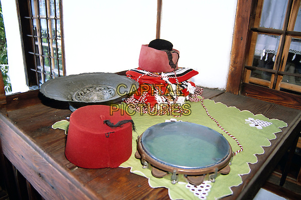 Kajtaz Turska Kula, Kajtaz Turkish House, items on display on table, Mostar, Bosnia Herzegovina, Former Yugoslavia