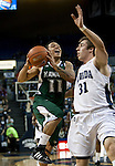 January 14, 2012:   Hawai'i Rainbow Warriors Jeremiah Ostrowski tries to drive past  Nevada Wolf Pack forward Olek Czyz during their NCAA basketball game played at Lawlor Events Center on Saturday night in Reno, Nevada.