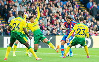 Crystal Palace Andros Townsend scoring second goal for his club during the Premier League match between Crystal Palace and Norwich City at Selhurst Park, London, England on 28 September 2019. Photo by Andrew Aleksiejczuk / PRiME Media Images.