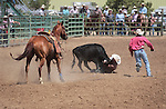 The Last Minute Cattle team competes in the double mugging event at the Minden Ranch Rodeo in Gardnerville, Nev., on Sunday, July 22, 2012..Photo by Cathleen Allison