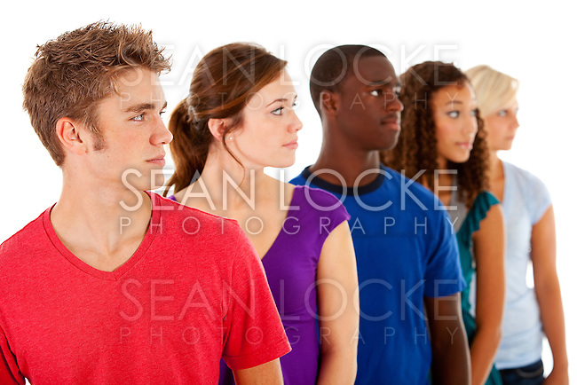 Part of an extensive series with high school students in a multi-ethnic group.  This part is isolated on white.