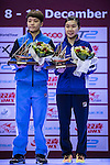 Doo Hoi Kem and Lee Ho Ching of Hong Kong during the prize ceremony of Seamaster Qatar 2016 ITTF World Tour Grand Finals at the Ali Bin Hamad Al Attiya Arena on 11 December 2016, in Doha, Qatar. Photo by Victor Fraile / Power Sport Images