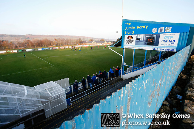 Fans watching the game in front of the Jamie Vardy Stand. Stocksbridge Park Steels v Pickering Town,  Evo-Stik East Division, 17th November 2018. Stocksbridge Park Steels were born from the works team of the local British Steel plant that dominates the town north of Sheffield.<br />