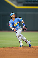 Myrtle Beach Pelicans shortstop Carlos Penalver (1) tracks a fly ball during the game against the Winston-Salem Dash at BB&T Ballpark on April 18, 2015 in Winston-Salem, North Carolina.  The Pelicans defeated the Dash 8-4 in game two of a double-header.  (Brian Westerholt/Four Seam Images)