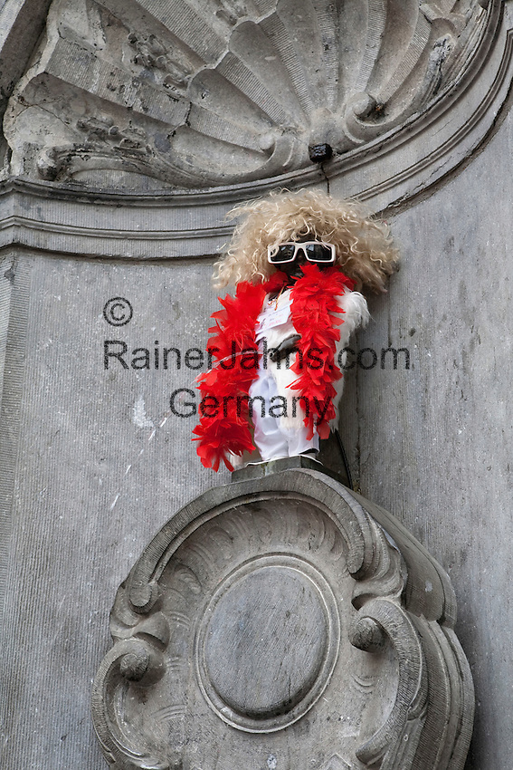 Belgium, Province Brabant, Brussels: Manneken Pis dressed as French singer Michel Polnareff