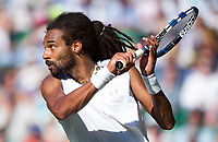 Dustin Brown of Germany in action during his defeat by Andy Murray (1) of Great Britain in their Men's Singles Second Round Match today - Murray def Brown 6-3, 6-2, 6-2<br /> <br /> Photographer Ashley Western/CameraSport<br /> <br /> Wimbledon Lawn Tennis Championships - Day 3 - Wednesday 5th July 2017 -  All England Lawn Tennis and Croquet Club - Wimbledon - London - England<br /> <br /> World Copyright &not;&copy; 2017 CameraSport. All rights reserved. 43 Linden Ave. Countesthorpe. Leicester. England. LE8 5PG - Tel: +44 (0) 116 277 4147 - admin@camerasport.com - www.camerasport.com