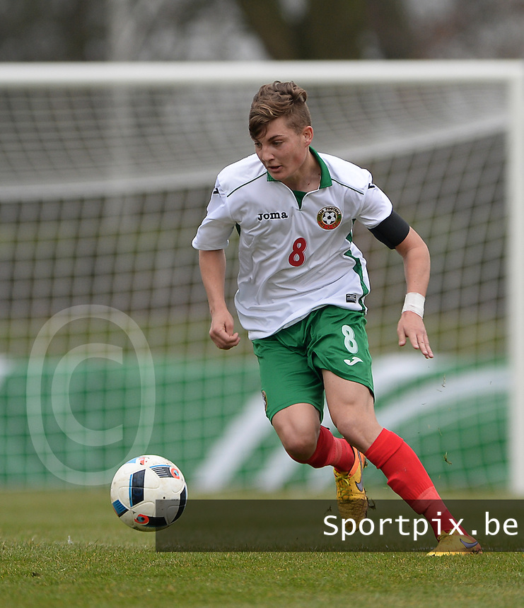 20160324 - Buderich , GERMANY : Bulgarian Ivan Tilev pictured during the soccer match between the under 17 teams of The Netherlands and Bulgaria , on the first matchday in group 4 of the UEFA Under17 Elite rounds in Buderich , Germany. Thursday 24th March 2016 . PHOTO DAVID CATRY