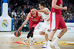 Real Madrid Facundo Campazzo and Olympiacos Piraeus Vangelis Mantzaris during Turkish Airlines Euroleague match between Real Madrid and Olympiacos Piraeus at Wizink Center in Madrid , Spain. February 09, 2018. (ALTERPHOTOS/Borja B.Hojas)