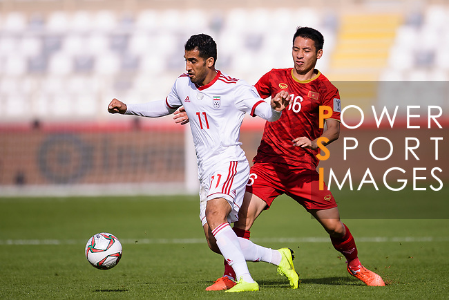Vahid Amiri of Iran (L) competes for the ball with Do Hung Dung of Vietnam (R) during the AFC Asian Cup UAE 2019 Group D match between Vietnam (VIE) and I.R. Iran (IRN) at Al Nahyan Stadium on 12 January 2019 in Abu Dhabi, United Arab Emirates. Photo by Marcio Rodrigo Machado / Power Sport Images