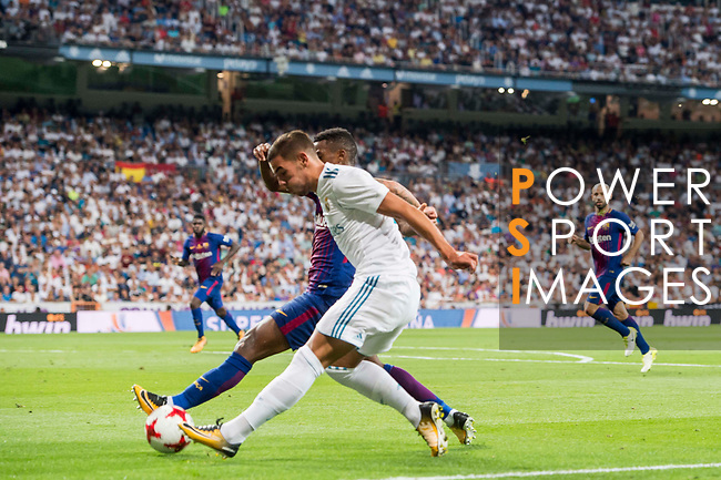 Theo Hernandez of Real Madrid in action during their Supercopa de Espana Final 2nd Leg match between Real Madrid and FC Barcelona at the Estadio Santiago Bernabeu on 16 August 2017 in Madrid, Spain. Photo by Diego Gonzalez Souto / Power Sport Images