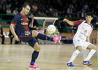 Caja Segovia's Jesus Murga (r) and FC Barcelona Alusport's Wilde Gomes during Spanish National Futsal League match.November 24,2012. (ALTERPHOTOS/Acero) /NortePhoto