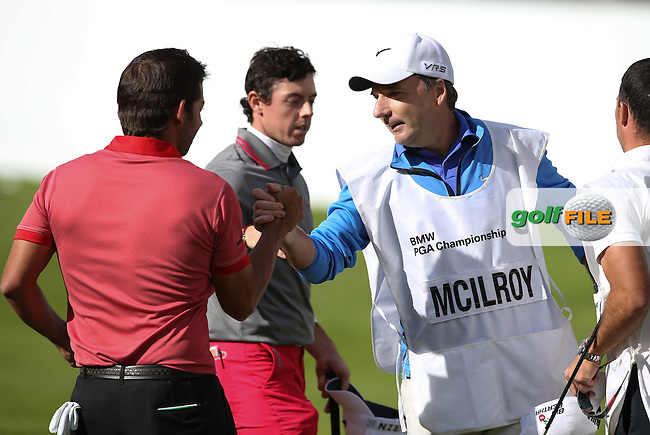 JP Fitzgerald shakes hands with Pablo Larrazabal (ESP) during the Final Round of the BMW PGA Championship from Wentworth Golf Club, Virginia Waters, London, UK. Picture:  David Lloyd / www.golffile.ie
