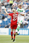 VfL Wolfsburg's Alexandra Popp (r) and Olympique Lyonnais's Pauline Bremer during UEFA Women's Champions League 2015/2016 Final match.May 26,2016. (ALTERPHOTOS/Acero)